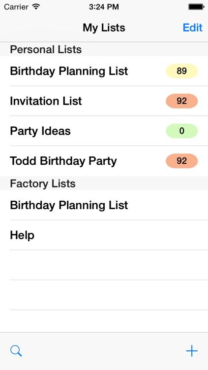 Birthday Planning List