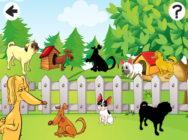 Awesome doggies! Shadow Game to Play and Learn for Children