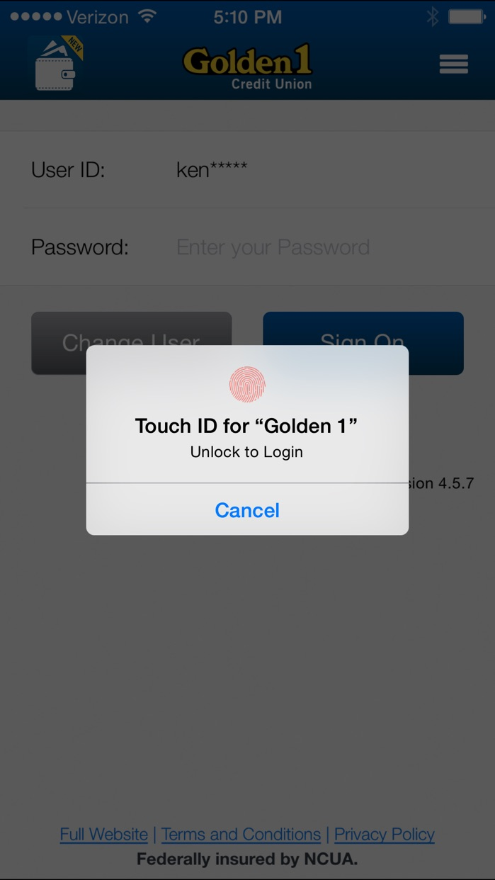 Golden 1 Mobile Screenshot