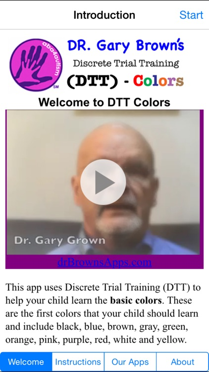 Autism / DTT Colors by Dr. Brown