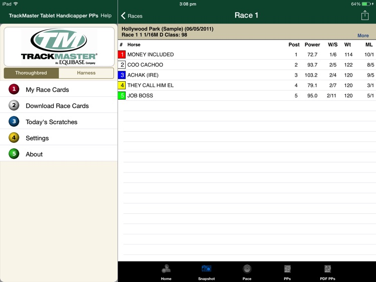 TrackMaster Tablet Handicapper PPs