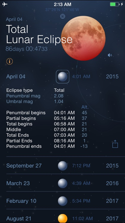 Solar and Lunar Eclipses - Full and Partial Eclipse Calendar screenshot-0