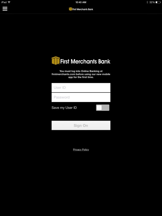 First Merchants Mobile App for iPad