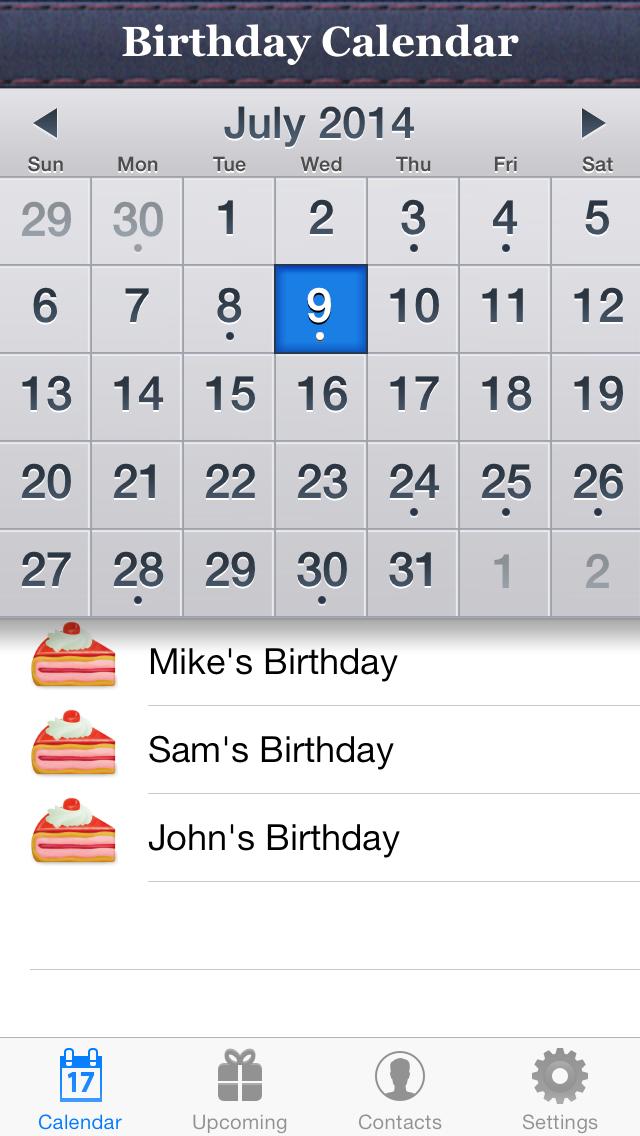 Birthday Reminder & Calendar+ screenshot one