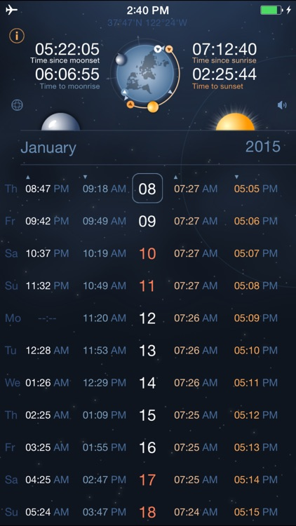 Raise and Set Times - Moonrise, moonset, sunrise, sunset times and compass screenshot-0