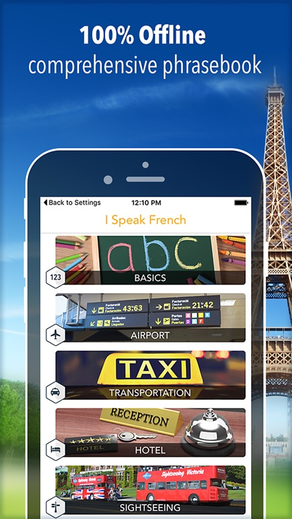 I Speak French : Offline phrasebook for travel and language learning!