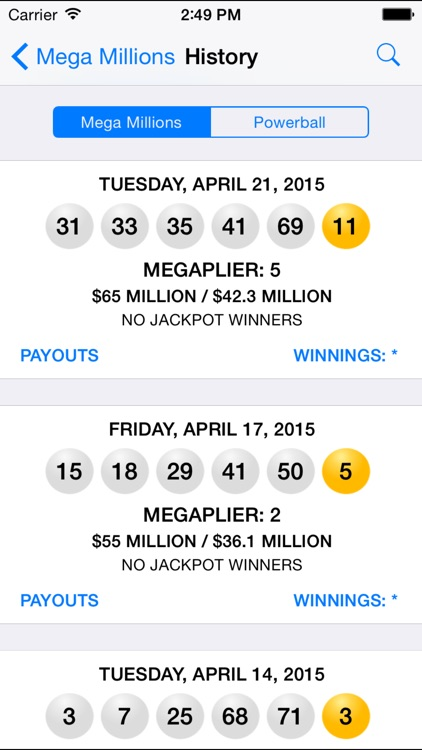 Mega Millions & Powerball - lottery games in the US with winning number results, lotto jackpots and prize payouts