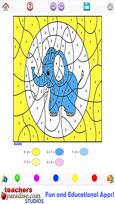 Kids Math Coloring Book - Paint by Numbers screenshot two
