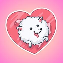 Fluffy White Dog Stickers