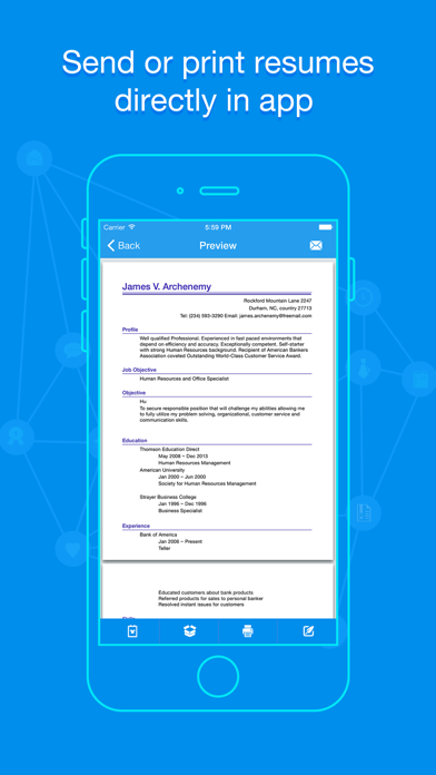 Quick Resume - Resumes Builder and Designer screenshot two