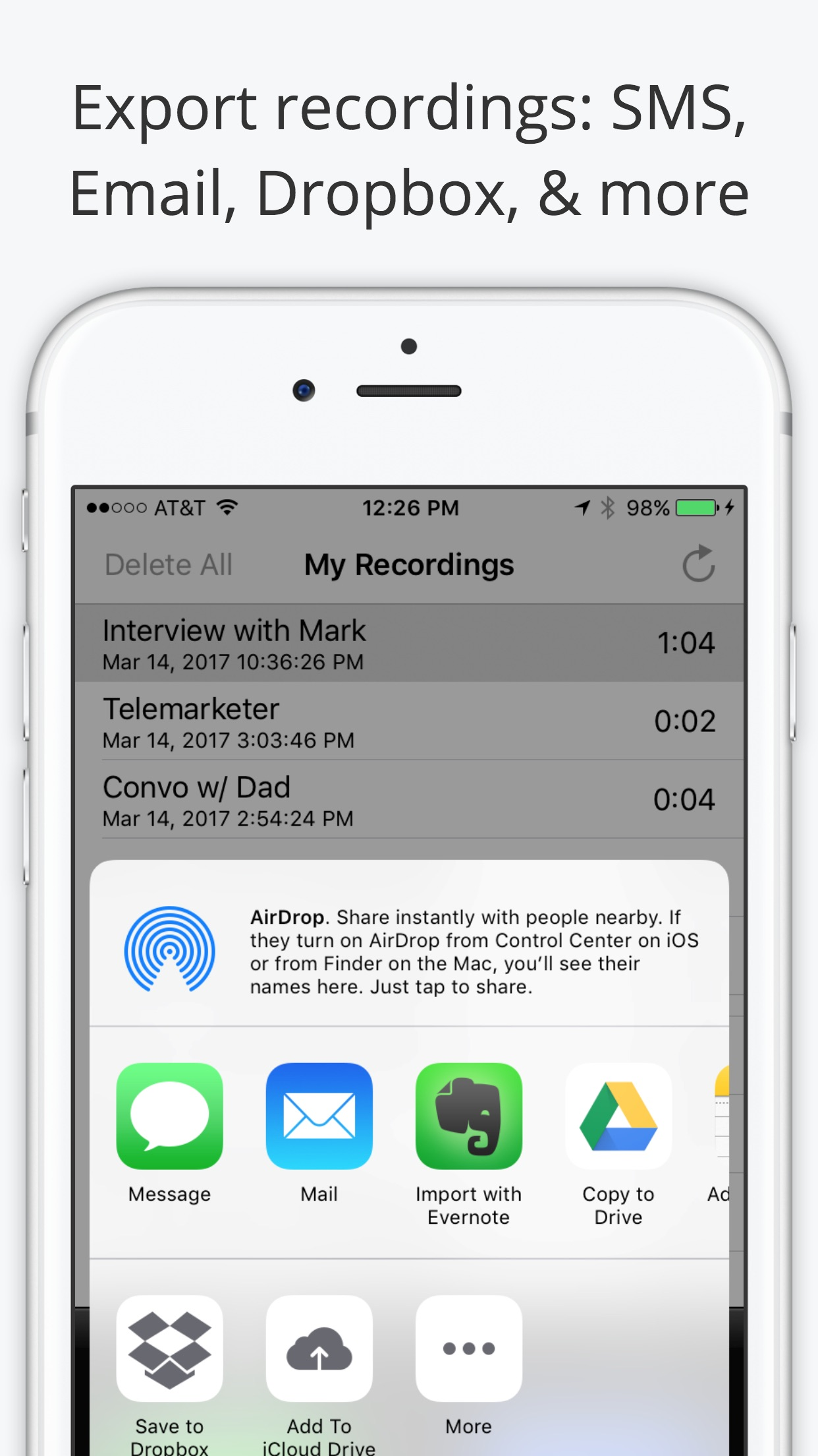 Call Recorder Lite - Record Phone Calls for iPhone Screenshot