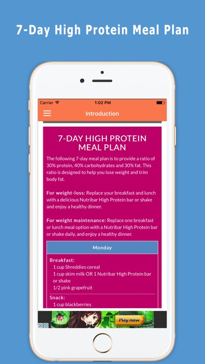 High protein weight loss meal plan