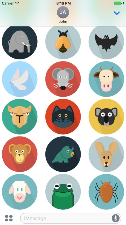Flatimals - Flat Animal Sticker Pack for iMessage screenshot-3