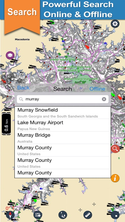 Murray Lake GPS offline nautical chart for boaters screenshot-3