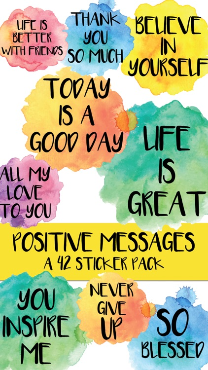 Positive Messages Watercolor Sticker Pack