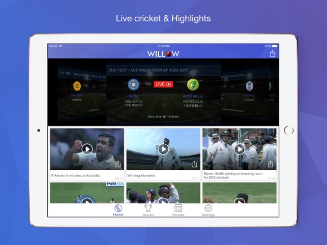 Willow Watch Live Cricket On The App Store