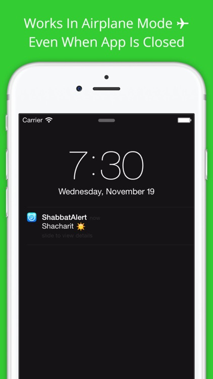Shabbat Alert - alarm clock 4 jewish calendar date