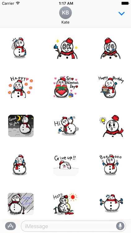 Many Stickers Of A Funny Snowman