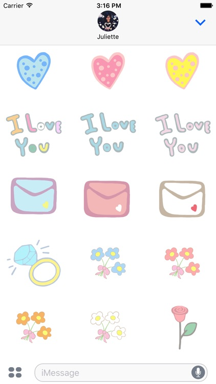 Pastel Love Stickers for Valentin's Day