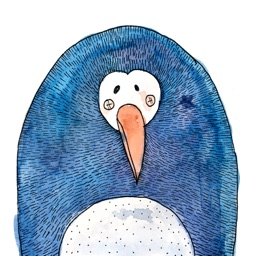 Cute Penguin! Watercolor Stickers