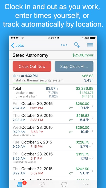 HoursTracker: Time tracking for hourly work screenshot-0