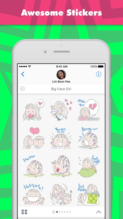 Big Face Girl stickers by wenpei