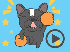 Funny Black Bulldog Animated