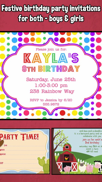 Happy Birthday Invitations For Kids Party Screenshot 1