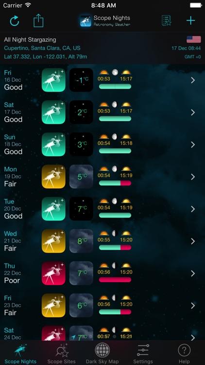 Scope Nights: Astronomy Weather & Dark Sky Map