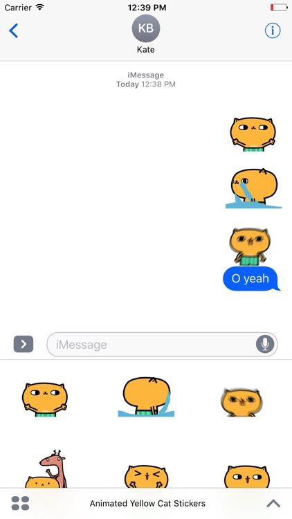 Animated Yellow Cat Stickers For iMessage screenshot-3
