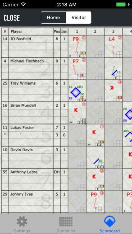 iScore Baseball / Softball Scorekeeper screenshot-2