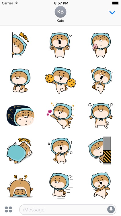 Blue Shiba Dog Stickers for iMessage
