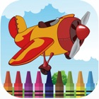 Sky plane rolling coloring book games for kids icon