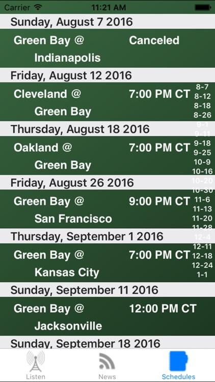 Green Bay Football - Radio, Scores & Schedule screenshot-3