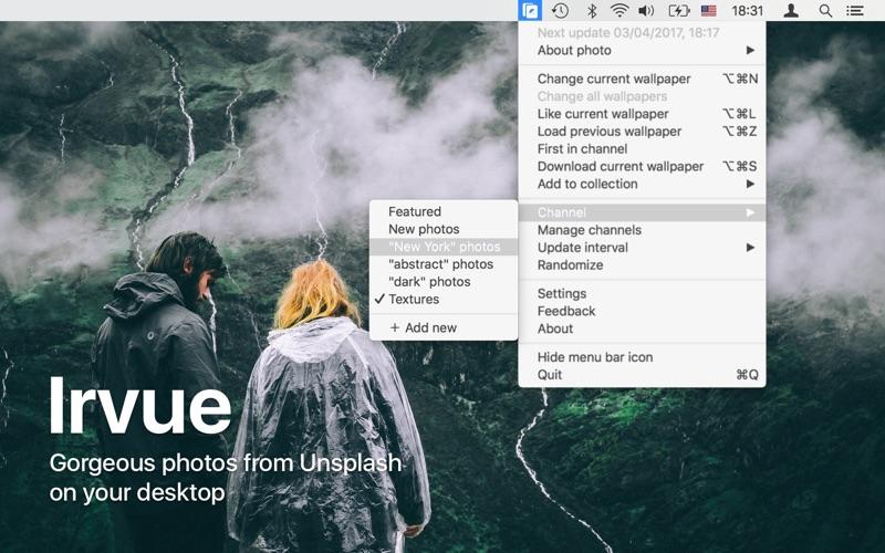 Irvue utilisez les photos d'Unsplash comme wallpaper-capture-1