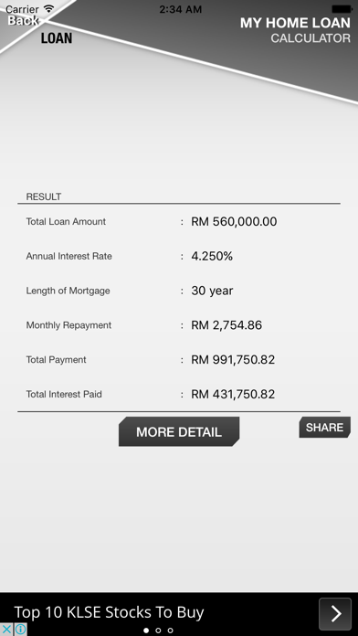 Malaysia Home Loan Calculator screenshot two