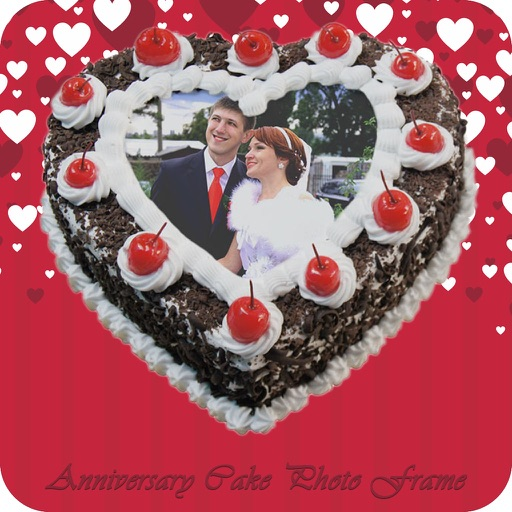 Anniversary Cake Photo Frame   Photo Name On Cake