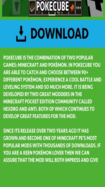 PIXELMON ADDONS FOR MINECRAFT POCKET EDITION (PE)