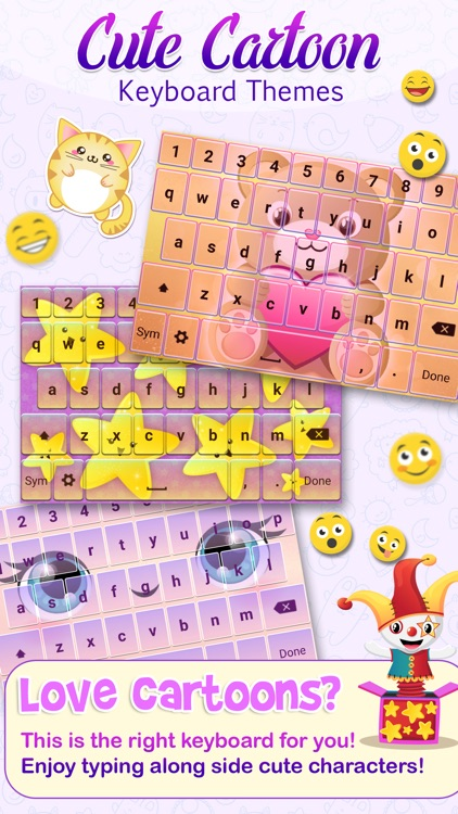 Cute Cartoon Color Keyboard Themes Emoji & Layout screenshot-0