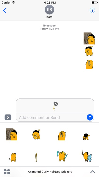 Animated Curly Hair Dog Stickers For iMessage