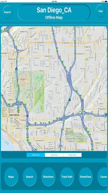 San Diego CA USA City Offline Map Navigation EGATE by Egate ...