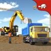 城市建设挖掘机起重机和卡车驾驶