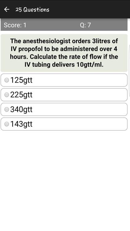 IV Drug Flow Rate Quiz