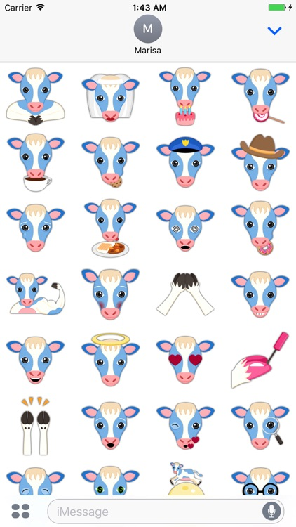 Sweet Blue Cow Emoji Stickers screenshot-3