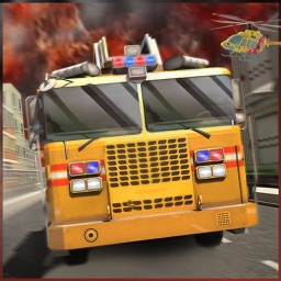 911 Helicopter Fire Rescue Truck Driver: 3D Game