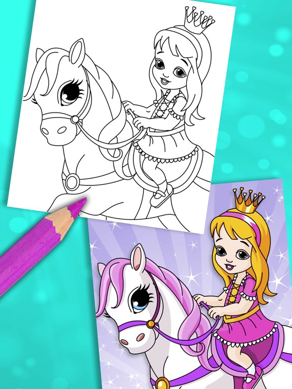 Princess coloring pages for kids – painting game | App Price ...
