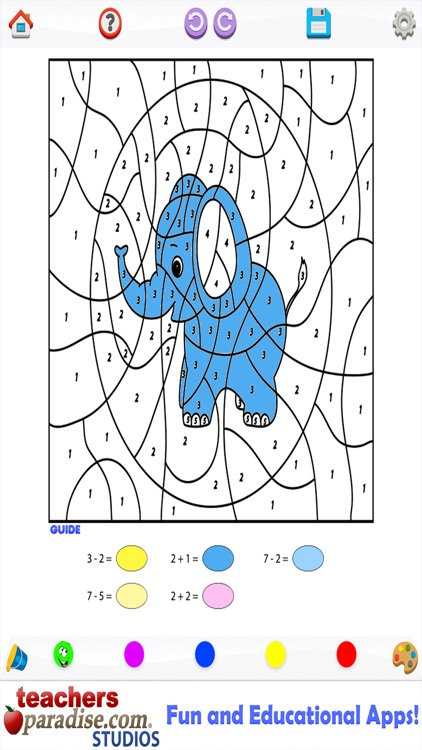 Kids Math Coloring Book - Paint by Numbers by TeachersParadise.com