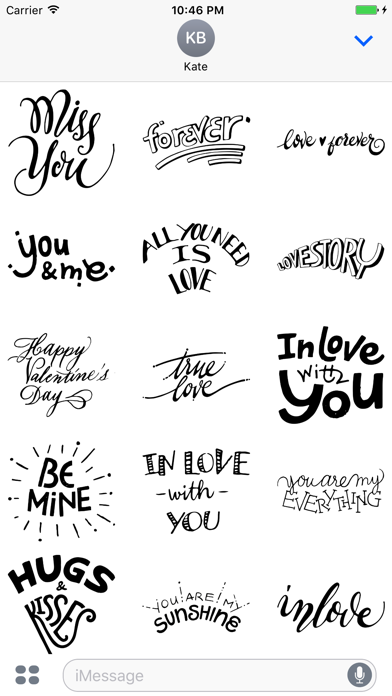 Love Typography Stickers for iMessageScreenshot of 2