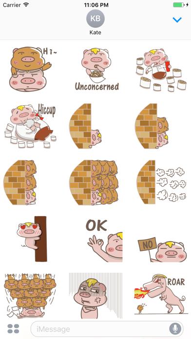 Izzy the lazy pig stickers