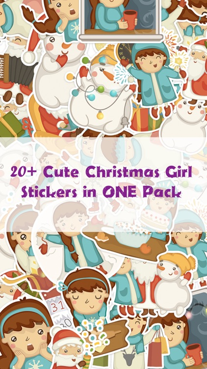 Cute Christmas Girl Stickers Pack for iMessage
